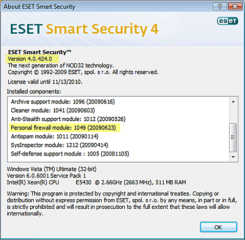 About ESET Smart Security window